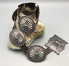 Vintage Concho belt with turquoise stones and hand stamped buckle