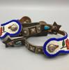 spurs, Navajo, beaded straps, engraved