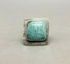 Turquoise and textures sterling silver ring