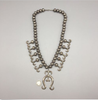 Sterling Silver Squash Blossom Necklace with coin for size