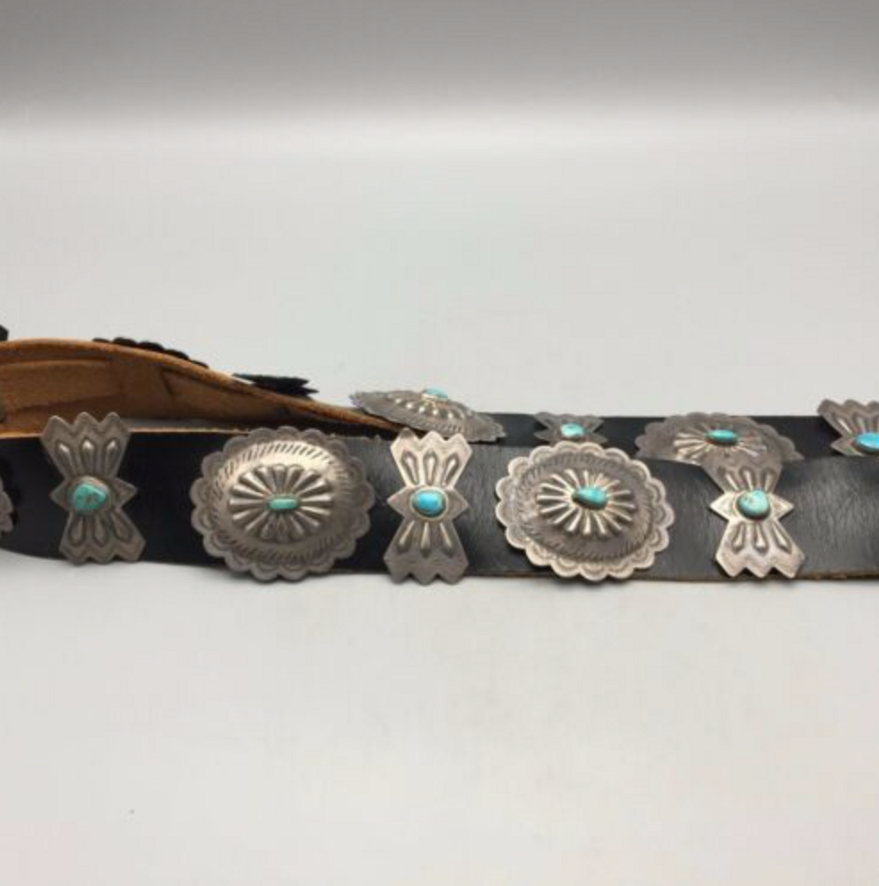 Beautiful Circa 1950 Vintage Turquoise Sterling Silver Concho Belt