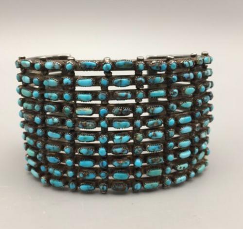 10 row Bisbee Turquoise cuff bracelet