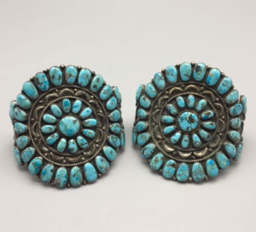 pair of matching turquoise cluster cuff bracelets
