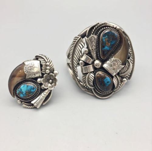 high grade turquoise bracelet and ring set