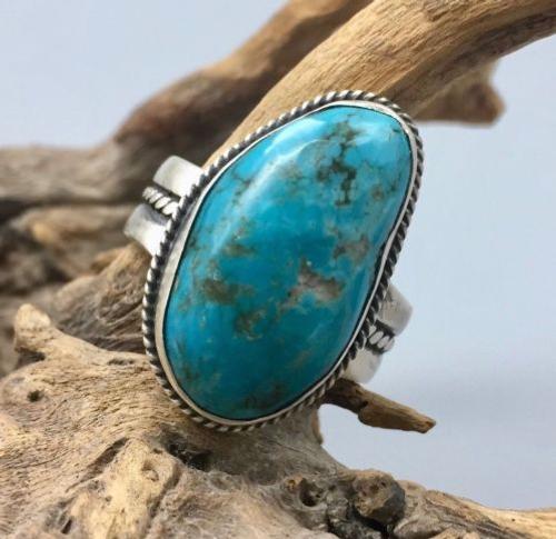 ring, Elle Curley-Jackson, Elle C-J, Navajo, Native American, sterling silver, turquoise, Kingman