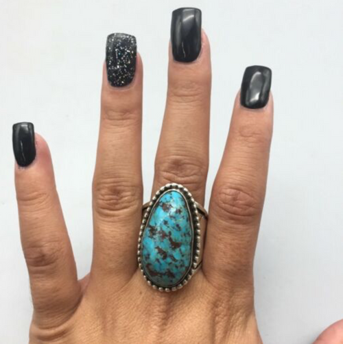 ring, sterling silver, turquoise, signed, hallmarked, new, Native, Navajo, Ambrose Tsosie, size 10.5