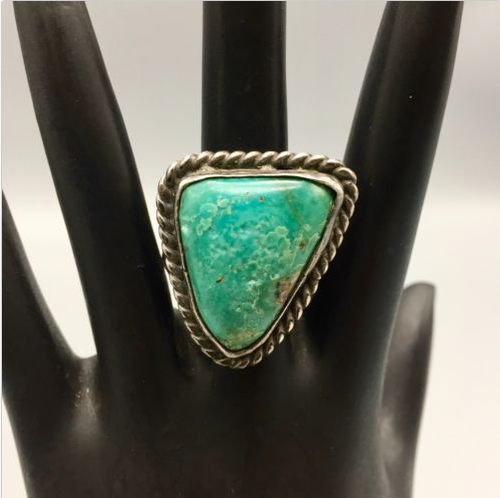 ring, vintage, sterling silver, Native American, turquoise, Navajo, green
