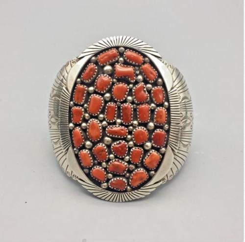 coral cluster cuff bracelet