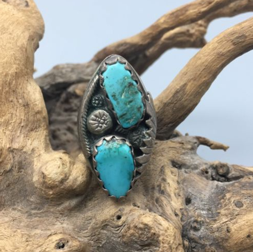 ring, vintage, sterling silver, hallmarked, P. Padilla, Navajo, Native American, turquoise