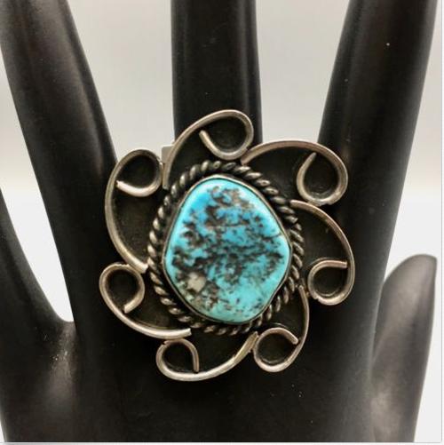 ring, vintage, Kingman turquoise, sterling silver, flower design, Native American