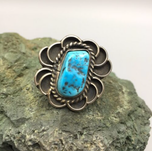 ring, sterling silver, turquoise, vintage, size 8.5