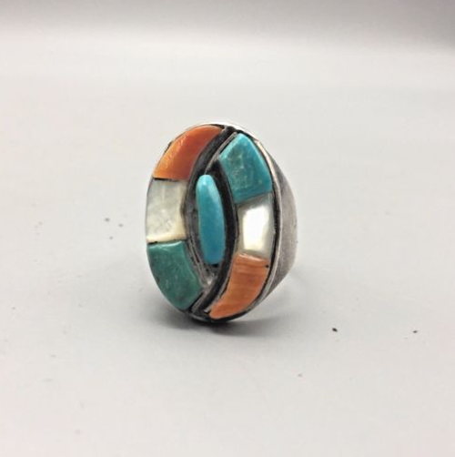 ring, Zuni, vintage, inlay, sterling silver, spiny, turquoise, mother of pearl, MOP, size 11, Native American