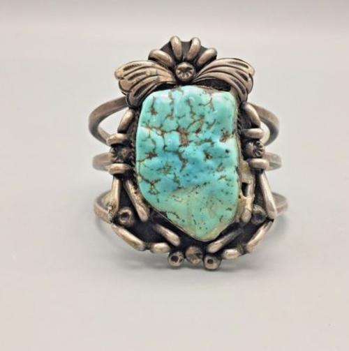 heavy gauge turquoise cuff bracelet