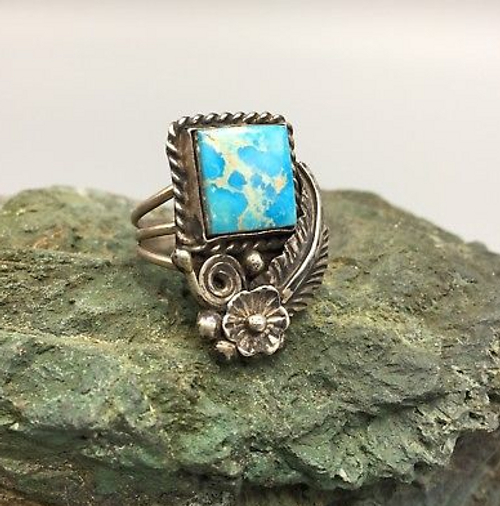 ring, signed, contemporary, turquoise, sterling silver, size 9