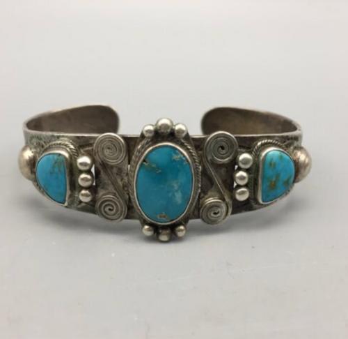 3-stone turquoise cuff bracelet