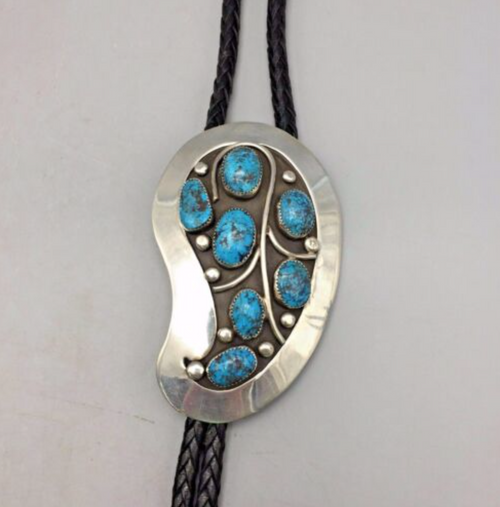 Bolo, Sterling Silver, Steven Stone Turquoise, Signed