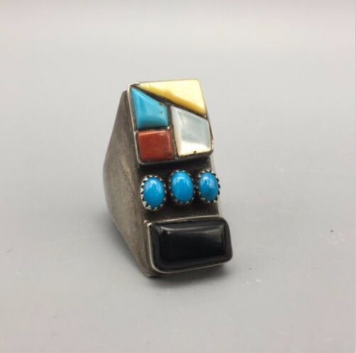 ring, multi stone, turquoise, coral, MOP, coral, Native American, sterling silver