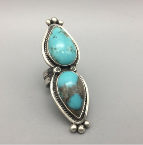 ring, turquoise, sterling silver, signed