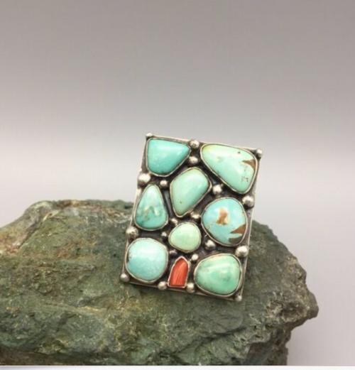 ring, cluster, turquoise, coral, sterling silver, signed