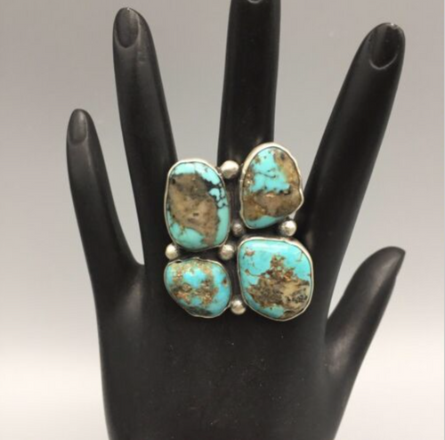 ring, sterling silver, turquoise, signed