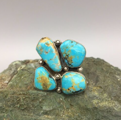 ring, sterling silver, turquoise, Nick Jackson, signed, new