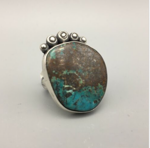 ring, turquoise, sterling silver, Elle Curley-Jackson, signed, hallmarked, size 8.5