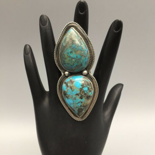 ring, Nick Jackson, NJ, signed, Hallmarked, sterling silver, turquoise, size 8.5