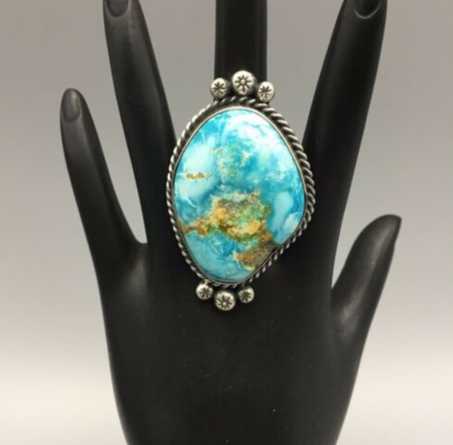 ring, Elle Curley-Jackson, Elle C-J, size 10.25, turquoise, sterling silver, signed, hallmarked