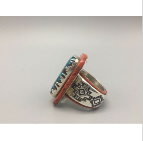 ring, coral, turquoise, sterling silver, signed, size 15, signed