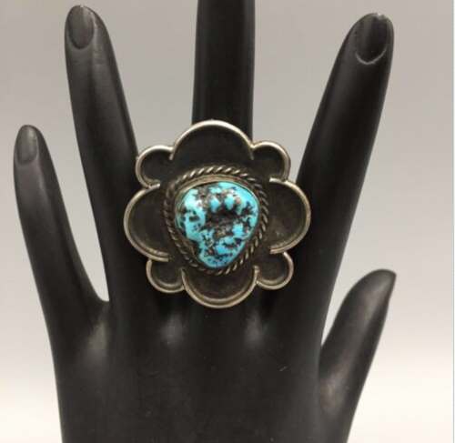 ring, sterling silver, turquoise, vintage