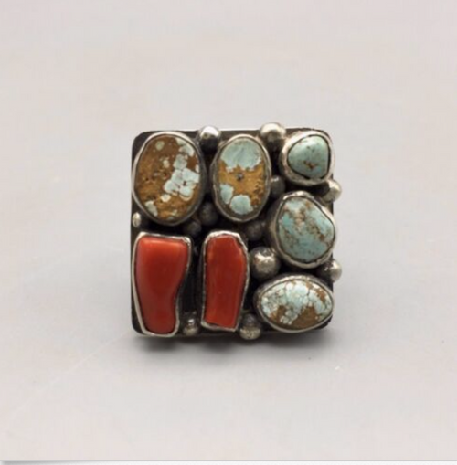 ring, signed, hallmarked, Nick Jackson, NJ, sterling silver, turquoise, coral, size 7.5, Native American, Navajo