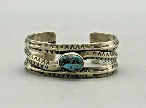 hand stamped sterling silver and turquoise cuff bracelet