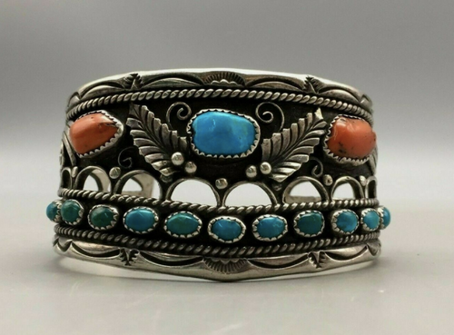 Gorgeous Coral and Turquoise Cuff