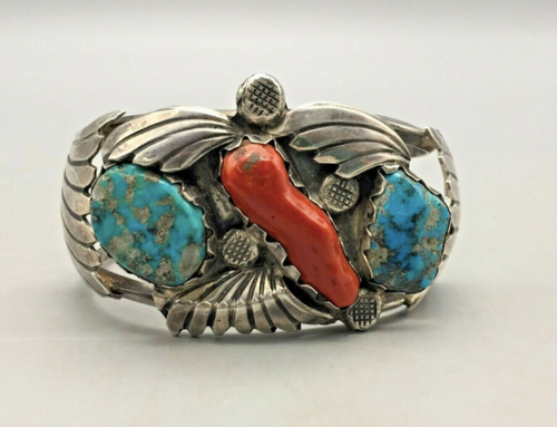 Bold, Vintage Turquoise and Coral cuff.