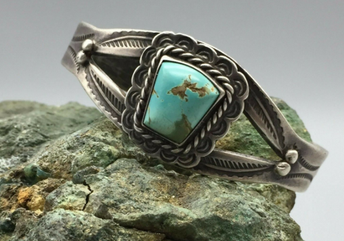Fred Harvey era, hand stamped, turquoise