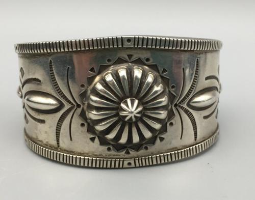 Handmade stamped sterling silver cuff Navajo