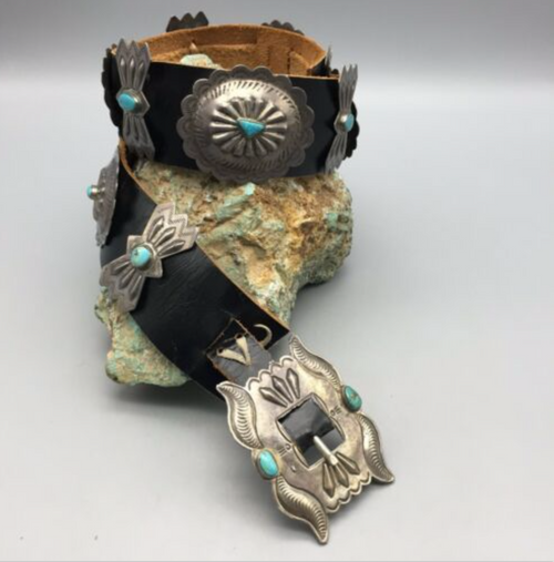 concho belt, turquoise, sterling silver