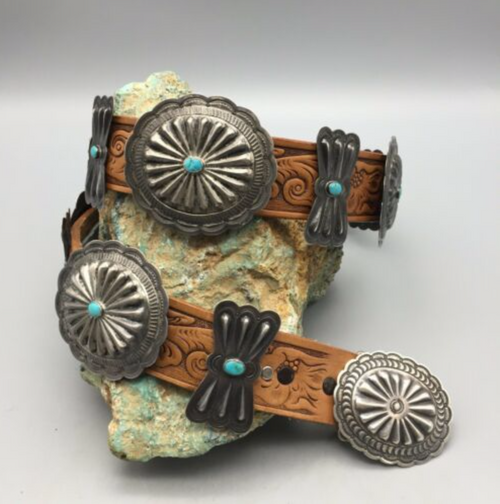 concho belt, sterling silver, turquoise