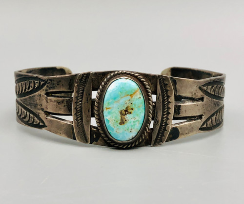 Vintage turquoise and sheet silver cuff.