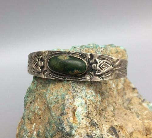 Fred Harvey Era cuff, green turquoise.