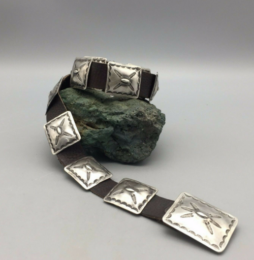 Vintage sterling silver rectangular concho belt