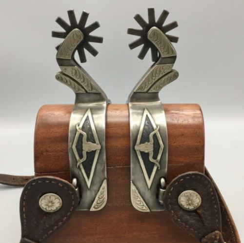 spurs, hallmarked, double mounted