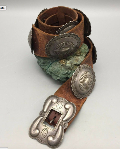 Wide leather concho belt