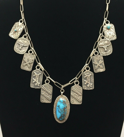 Vintage tab necklace with a beautiful turquoise pendant