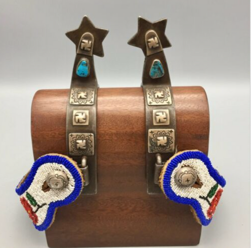 spurs, Navajo, beaded straps, engraved