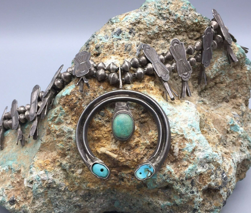 Old school box bow sterling silver and turquoise style squash