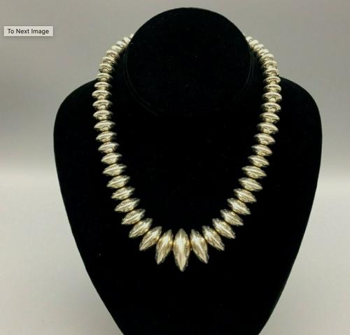 Shorter sterling silver Navajo pearls necklace