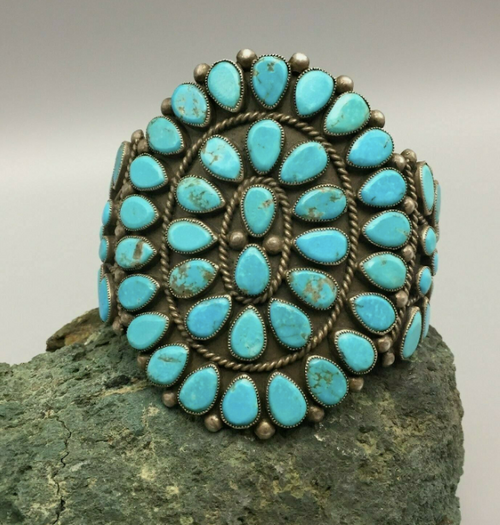 Beautiful, large turquoise cluster cuff