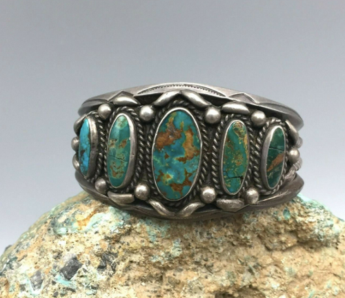 Vintage green turquoise cuff