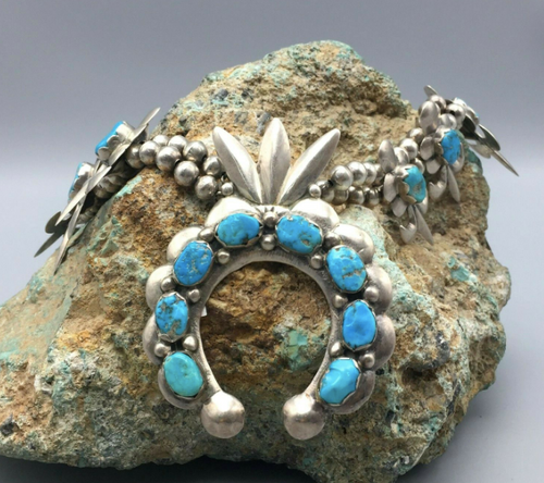 Sand casted sterling silver and turquoise squash blossom